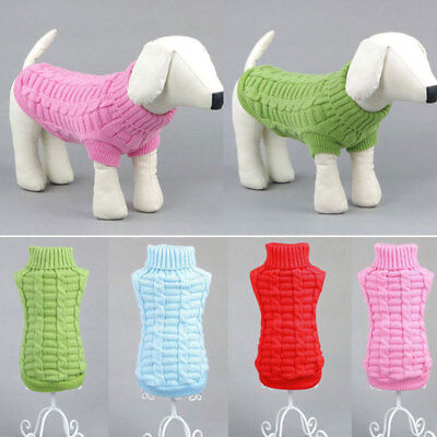 Dog Knitted Jumper Knitwear Clothes Winter Warm Pet Puppy Polo Neck Sweaters