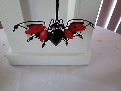 """Makers 2"""" x 5"""" Black Bat with Red & Black Gems Halloween Ornament, New"""