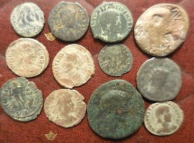Lot of 12 Fine to Very Fine Ancient Roman Coins: Largest 28 mm.