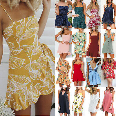 Women's Mini Dress Evening Party Cocktail Summer Casual Beach Holiday Sundress