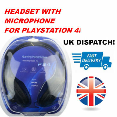 Wired 3.5mm Headphone Headset With Mic Microphone For Sony Playstation 4