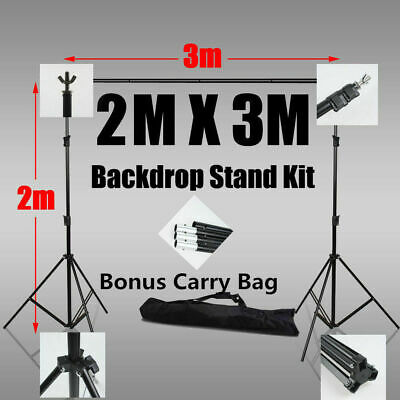Adjustable Photography Screen Background Support Stand Kit Studio Backdrop 3x2m
