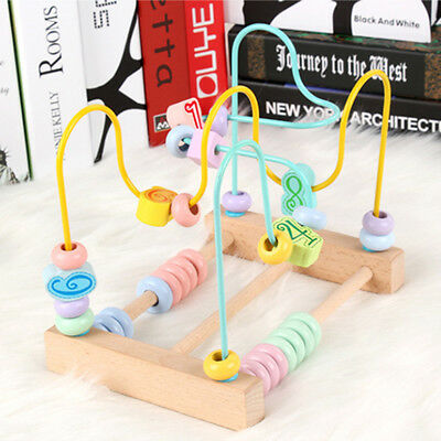 Counting Circles Bead Abacus Wire Maze Roller Wooden Montessori Toys 6A