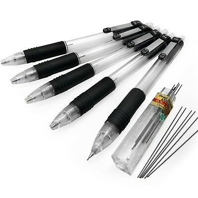Zebra Z-Grip Mechanical Pencil - 0.5mm - Pack of 5 + 12 Pentel 0.5mm HB Leads