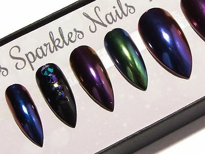 Multichrome Black & Crystals Press On Gel Acrylic Fake False Faux Glue Nails Set