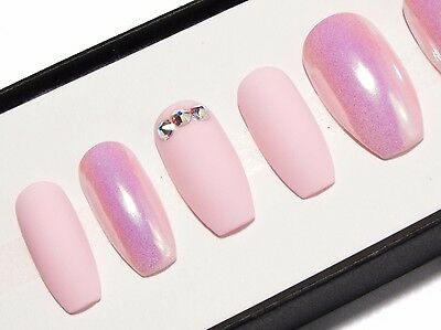 Matte Pink Crystal Opalescent Press On Gel Acrylic Fake Faux False Glue Nails