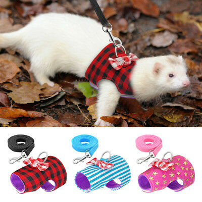 Soft Breathable Harness Leash Lead For Hamster Rabbit Guinea Pig Rat Ferret Cat