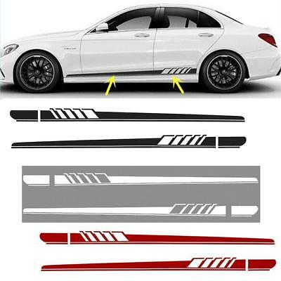 2Pcs Car Side Body Vinyl Decal Sticker Racing Long Stripe Decals Graphics AS#^