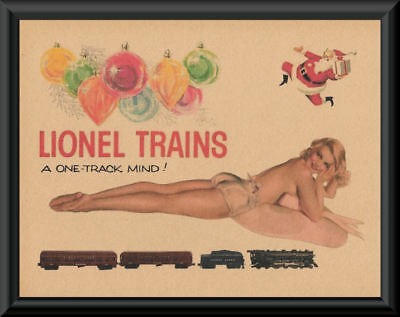 1950s Lionel Trains Pin Up Girl Poster Reprint On Original Period Paper *P184