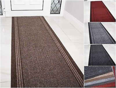 Narrow Extra Long Black Hardwearing Non Slip Hallway Runner Rugs Mat Sold Per FT