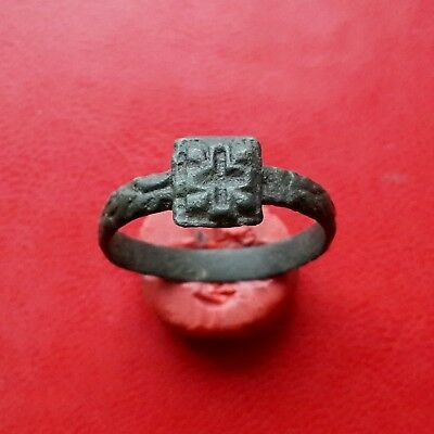 Ancient Medieval Viking or Byzantine ring with cross of 10-12 century AD