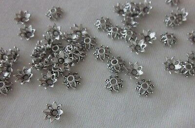 30 Silver Coloured 8x3mm Aztec-Style Bead Caps #bc781 Combine Post-See Listing