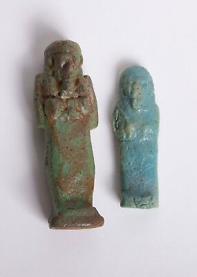 Lot of 2 Ancient Egyptian Faience ushabti c.700-30 BC.