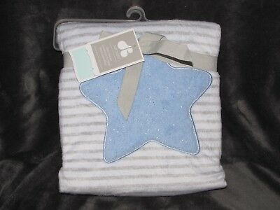 JUST ONE YEAR BABY BOY BLUE STAR VELBOA DEEP THICK PLUSH SHERPA BLANKET