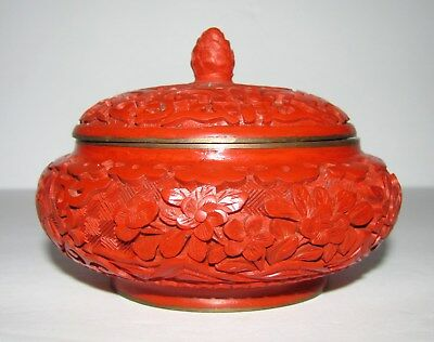 """Vintage Chinese Carved Lacquer Cinnabar Round Box / Blue Enamel 3 3/4"""" x 3"""" Tall"""
