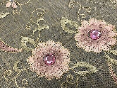 Spring Beige 72x90'' Oval Embroidered Pink Jeweled Polyester Tablecloth 8 Napkin