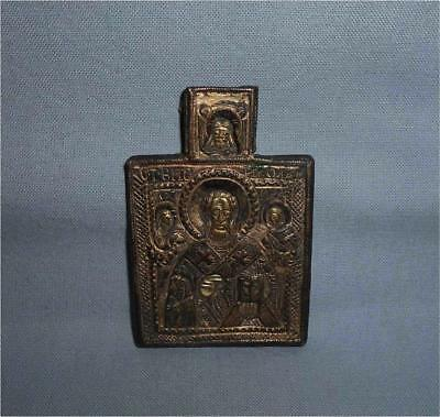 Antique Russia TOP RARE VERY HIGH AGED USED MEDIEVAL GILT BRONZE TRAVEL ICON