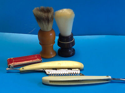 Old Vtg Collectible Shaving Lot Of Brushes, Straight Razors And Blades