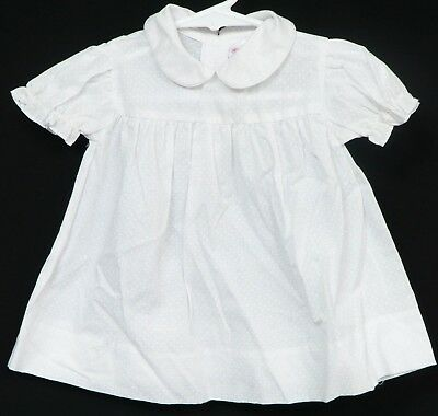 bdb81d62b Mayfair Baby Dress White Polka Dot 6-9 Months Vintage Collar Short Sleeve  Girls