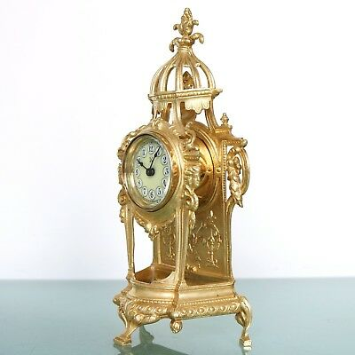 German Junghans PFEILKREUZ Mantel BABY MINI Clock Antique GILDED EXTREMELY RARE