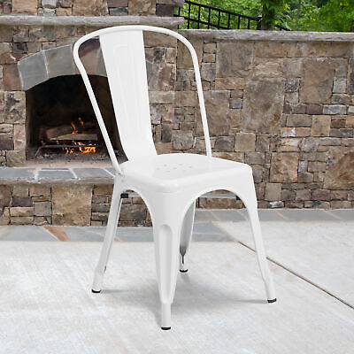 Commercial Grade Colorful Metal Indoor-Outdoor Stackable Dining Chair
