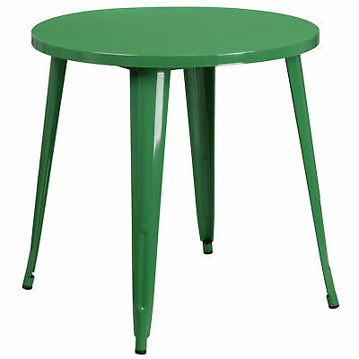 """Commercial Grade 30"""" Round Colorful Metal Indoor-Outdoor Dining Table"""