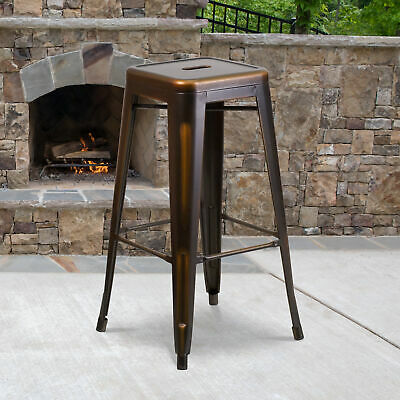 """Commercial Grade 30""""H Backless Distressed Colorful Metal Indoor-Outdoor Barstool"""