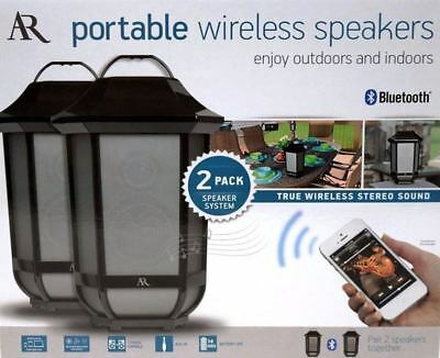 Minty AR PORTABLE WIRELESS SPEAKERS BLUETOOTH 2 PACK SPEAKER SYSTEM in/out Door