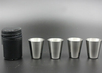 Shot Cup Drinking Mug w/PU Leather Cover Case Travel 4pcs Stainless Steel