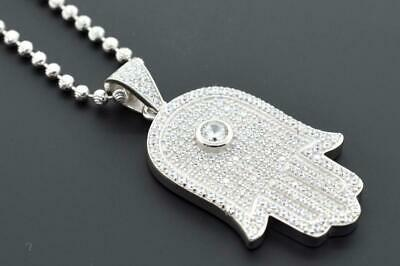 Hip Hop 14K White Plated Silver Religious Hamsa Hand Iced Out with Mooncut Chain
