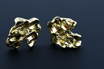 Mens Small Sterling Silver Yellow Gold Finish Nugget Earrings Push Back Studs