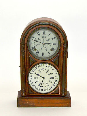 Antique Double Dial Perpetual Calendar Highly Brass Decorated Mantle Clock