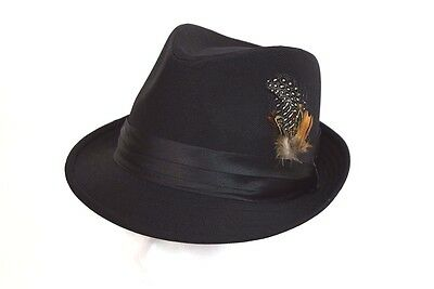 c38102141a8 Men s Fedora Dress Casual Hat Cuban Style Upturn Short Brim Solid Black  SD-121