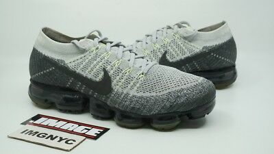 Nike Air Vapormax Flyknit Used Size 9.5 Pure Platinum Black White 922915 002