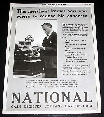 1921 Old Magazine Print Ad, National Cash Register Co, This Merchant Knows How!