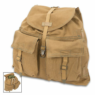 Czech Army M60 Cold War Backpack with Straps - Military Surplus Canvas Rucksack
