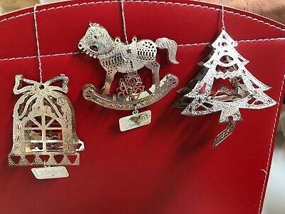 Vintage 1991 Lot (3) Holiday Christmas Tree Ornament White Metal Lace Cut Out