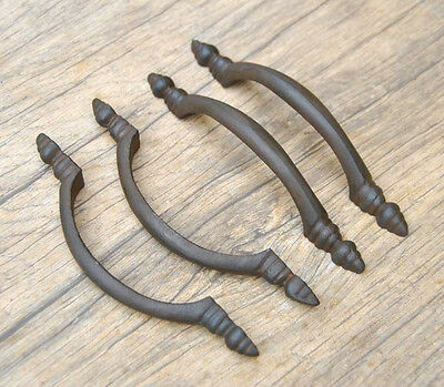 Vintage victorian cast iron door drawer cabinet screen handle pull rustic 5.6""