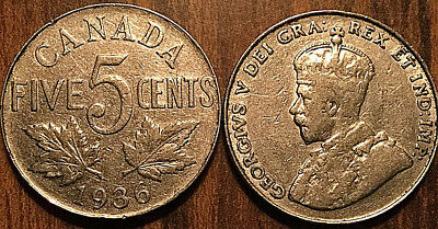 1936 CANADA 5 CENTS COIN GRADE G or Better BUY 1 OR MORE Its free S/H