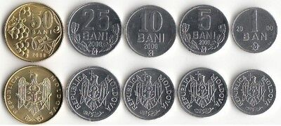 Moldova: 5 Uncirculated Coins, 1 To 50 Bani, Free Us Shipping