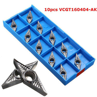 10x VCGT160404-AK Blades Carbide Inserts for Lathe Tool Turning Bar with Box