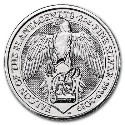 2019 U.K. 5 Pound 2 Oz Silver Queen's Beast Falcon of the Plantagenets