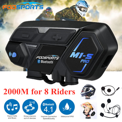 3x M1-S Pro 2000M Motorcycle Intercom Helmet Bluetooth HiFi Headset GPS 8 Riders