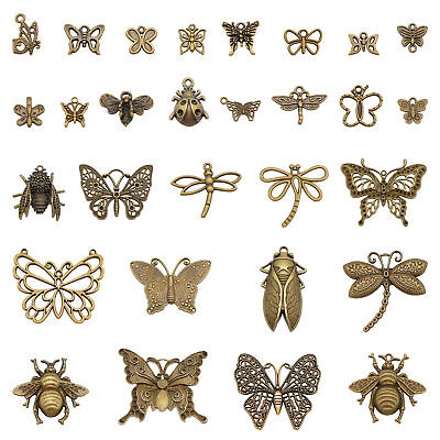 Mix Lot Bronze Alloy Fly Insects Pendants DIY Handmade Jewellery Crafts 10 pcs