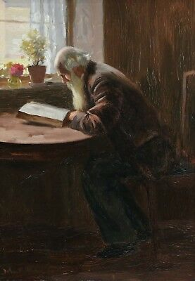 John Rennie Houston (1856-1932) Large Signed Scottish Oil Man Reading Interior