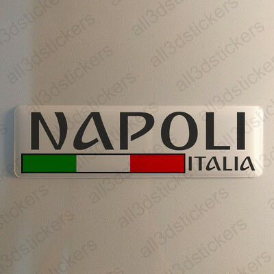 """Naples Italy Sticker 4.70x1.18"""" Domed Resin 3D Flag Stickers Decal Vinyl"""