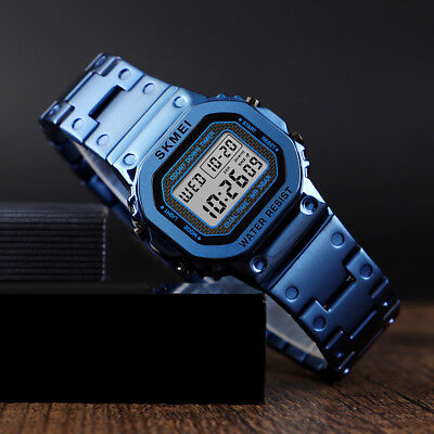 SKMEI Men's Waterproof Sport Army Alarm Date Stainless Steel Digital Wrist Watch