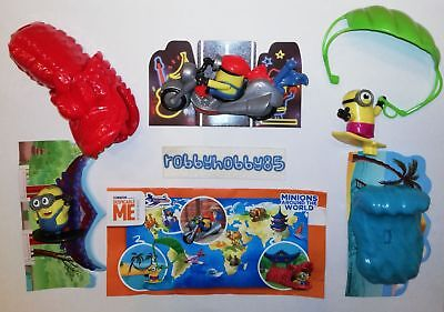 Minions Around The World (Maxi) Serie Complete Avec 3 Bpz Kinder Surprise 2019