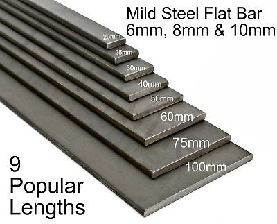 Mild Steel FLAT BAR 6mm 8mm & 10mm UK Trade Metal Supplier Band Saw Cut Lengths