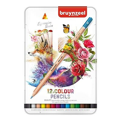Bruynzeel Expression Colour Colouring Pencils - Metal Gift Tin of 12 Colours